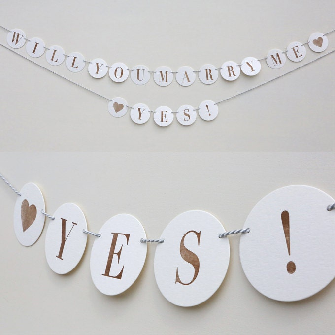 Will You Marry Me Yes Letterpress Garland Banner Bunting