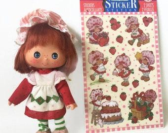 Vintage Strawberry Shortcake Doll with Strawberry Shortcake Stickers