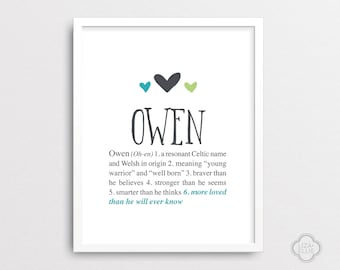 Amelia baby name meaning personalized baby gift custom owen personalized baby gift baby name wall art custom baby name print negle Choice Image