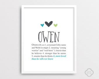 Owen - Personalized baby gift - Baby name wall art - Custom baby name print - Boy name wall art - Printable - DIGITAL FILES