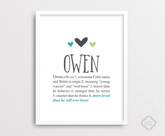 Owen personalized baby gift baby name wall art custom owen personalized baby gift baby name wall art custom baby name print boy name wall art printable digital files negle Images