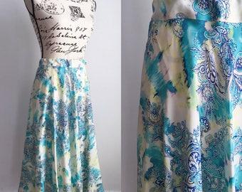 Vintage Midi Skirt, Vintage Midi Teal Green Blue Skirt, Midi Silk Skirt