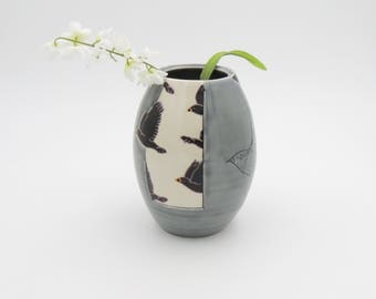 Clay Vase // Utensil holder, ceramic flower vase, handmade pottery, wheelthrown pottery, purple vase, starling bird, birds, mishima, clay