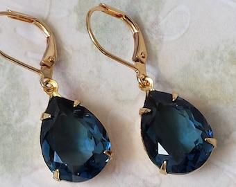 Dark Sapphire Crystal Earrings Swarovski Blue Teardrop Earrings Dark Sapphire Earrings Blue Drop Earrings Blue and Gold Earrings BEST SELLER