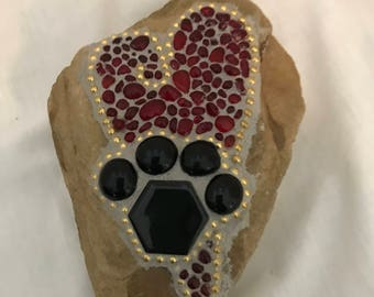 Mosaic pet rock, dog or cat rock, handmade, red glass heart, paw print, Memorial or in Honor of your pet. One of a kind.