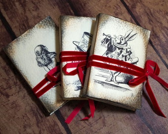 Welcome to Wonderland SET of 3 Alice in Wonderland paperback journals, Alice Rabbit Madhatter diary, girl notebook, fairy tale, dyed paper