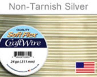 24 Gauge Silver Non Tarnish Wire, Silver Plated Wire, Round, Soft Flex, Supplies, Findings, Craft Wire