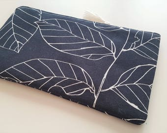 Leaves on Black - Cash Wallet, Clutch, Make Up Bag Large Zippered Pouch - Flat - Ready to Ship
