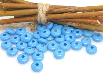 50 wooden beads flat blue lenses shape lay flat to pacifier 10 mm