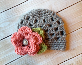 The Sofia Flower Beanie in Gray, Coral and Celery Green Available in Newborn to Tween Size- MADE TO ORDER