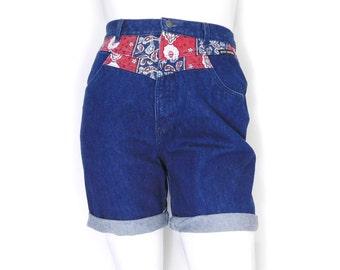 Sz 14 90s High Waisted Western Denim Cutoffs - Vintage Women's High Rise Cuffed Bandana Trim Blue Jean Shorts