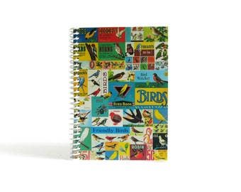 Birds Mosaic Notebook A6 Spiral Bound - Sketchbook, Writing Journal, Back to School, Antique Birds Prints, Diary, 4x6 Inches, Gifts Under 20