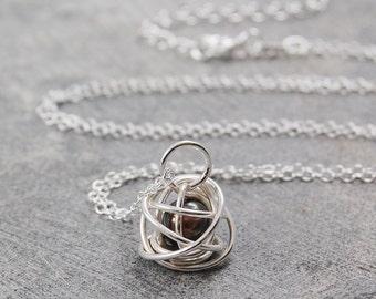 Silver Wire Necklace - Pendant Necklace - Wire Wrapped Necklace - Pearl Pendant - Pearl Necklace - Handmade Pendant - Simple Necklace
