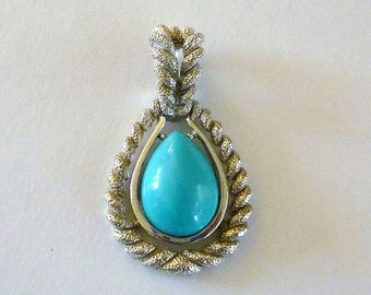 Vintage Avon Silver and Turquoise Pendant