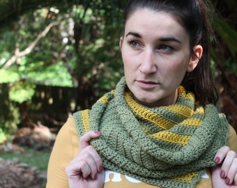 Crochet Scarf Pattern. Asymmetric scarf 'Bracken Scarf' Instant PDF Download