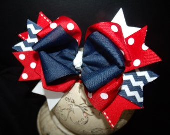 Hair Bow in Red and Navy Hairbow Boutique Bow and Interchangeable Headband