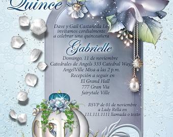 quinceañera, invitaciones quinceanera, carruaje de Cenicienta, cenicienta invitación, CinderBella quinceañera, CinderBella