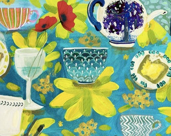 tea time ... limited edition giclee art print • teacup • toast • coffee • table • still life • office • kitchen • restaurant •gift  • friend