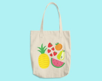 Fruit Salad Summer Cotton Tote Bag Made in USA