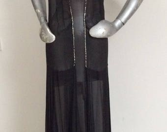 Vintage 1930's Silk Chiffon Beaded Overdress Fishtail Hem