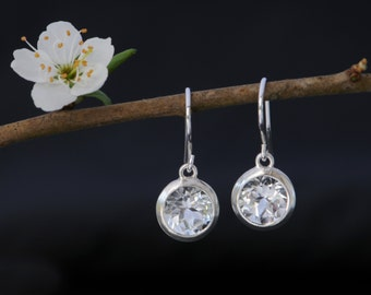White Topaz  Earrings - White Gemstone Drop Earrings - White Topaz Drop Earrings - Round Dangle Earrings with White Topaz - Free Shipping