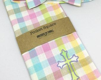 Easter Pastel Plaid Bowtie & Pocket Square Set, Easter Plaid bow tie, Pastel Easter Bow Tie, Monogrammed Easter Pocket Square, Easter Tie