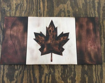Rustic Handmade wooden Canadian Flag