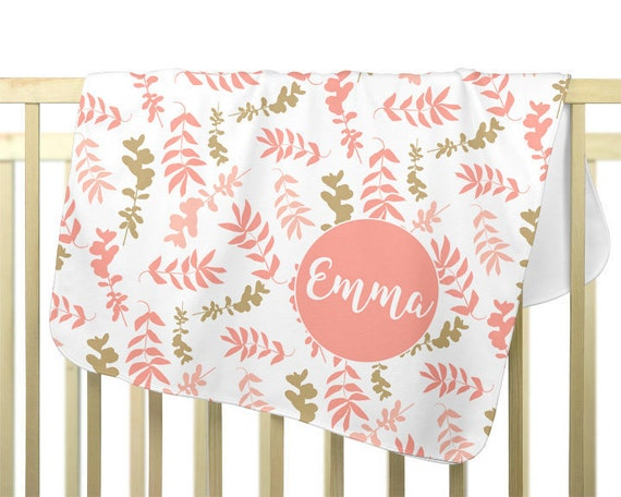 Personalized Baby Blanket; Coral Floral Pattern