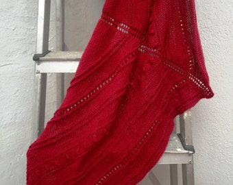 Handknitted red cotton shawl / wrap. Unique and ready to ship.