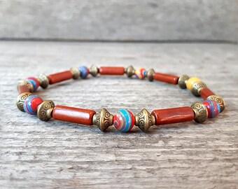 Bracelet Turquoise minimaliste Bohème ethnique marron, Mala Bracelet, bracelet extensible, bracelet homme, cadeau pour lui, bracelet unisexe 6mm