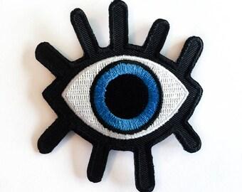 """Oeil de Patch - Big BLUE Eye - fer-sur les patchs correctifs - cils - Evil Eye Patch - broderie - veste en Jean bricolage - taille 3 """"x 3,5"""" (P118)"""