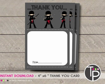 NINJA THANK YOU Card, Instant download Thankyou Card,  Karate Thank you Card, Ninja Thank you Card, Instant Download Ninja Warrior Thank you