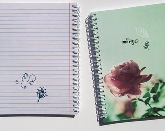 """Spiral Notebook """"Lines"""" / Journal / Sketchbook - blank or lined - vintage rose design, 3 sizes"""