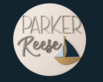 "24"" 3D Personalized Round Sign, Wood Nursery Name Sign with Sailboat, Nursery Decor, Nautical Nursery, 24 Inch Circle, Sailboat Nursery Sign"