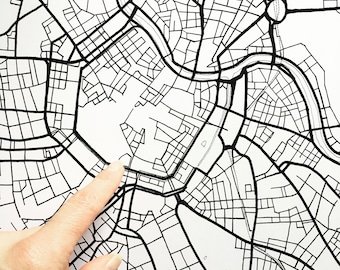 VIENNA Map Street Map AUSTRIA City Map Drawing Black and White (Art Print) Wedding Anniversary Gift Wall Decor
