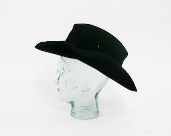 Vintage Black Cowboy Hat - Felt -  Boho Brim Hat - Western - Prairie - Country - 7 1/4 - 7.75