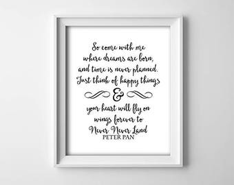 """INSTANT DOWNLOAD 8X10"""" printable digital art - """"So come with me"""" - Peter Pan quote - Black and white - Nursery wall art - Minimalist"""