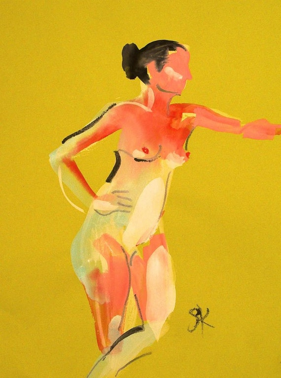 Nude painting of One minute pose 81.6  Original painting by Gretchen Kelly