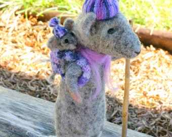Felted mouse, baby wearing mouse, mouse and baby