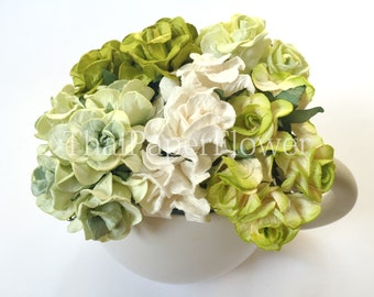 15 Green White Curly Mulberry Paper flower scrapbook card making home decor wedding craft supply Baby Showers G2/839