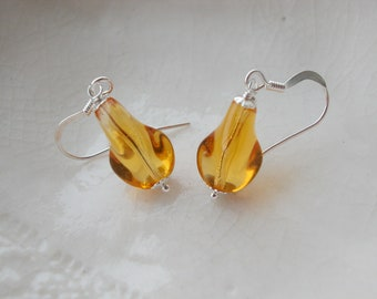 Small Amber Murano Glass Faceted Earrings