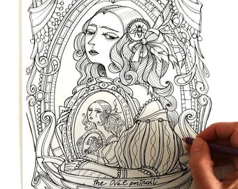 The Oval Portrait - Edgar Allan Poe - Coloring page - Instant download - Printable illustration