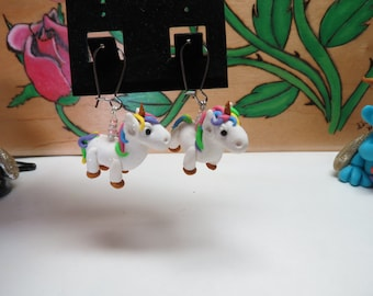 Rainbow Glitter Unicorn Original Handmade Earrings 1 pr by Shannon Ivins