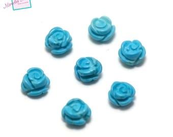 "2 turquoise half hole Pearl ""mini-fleur 7 x 4"""