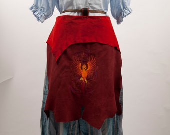 Red leather battle skirt apron Phoenix embroidery larp fantasy fair costume fire mage shaman armor banner huntsman game of thrones warcraft