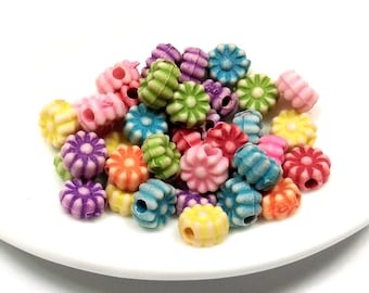 100 colored 6 mm - acrylic beads flower beads