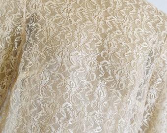 70s Lace Maxi Dress Ivory Sheer Lace Dress Wedding Dress Ivory Cream Dress XS