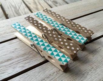 Teal and Brown Clothespin Magnets, Decorated Clothespins, Fridge Magnets, Set of Four