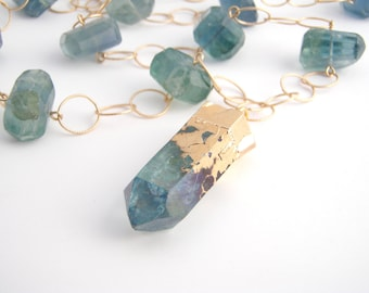 Fluorite Point Pendant Chain Necklace, Statement Necklace, Boho Jewelry, 14k Gold Filled Chain, Teal Green, Long Necklace