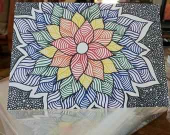 Rainbow flower - 5x7 greeting card - blank inside